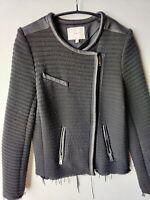 IRO Maiden Jacket (Size 38) Black Frayed Edges w/Leather Accents Women's
