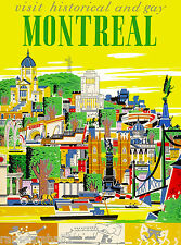Historical Montreal Canada Canadian Vintage Travel Advertisement Art Poster