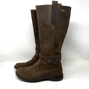 Merrell Tetra Strap Waterproof Brown Leather Tall Knee High Boots EUC! Women 10