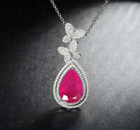 Solid 14KT White Gold 2.30 Carat Natural Red Ruby EGL Certified Diamond Pendent