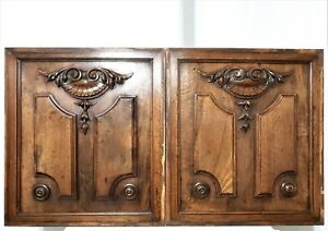 Pair scroll laves shell wood carving panel Antique french architectural salvage