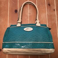 GUESS Purse Handbag Good Condition Preowned Teal Ostrich p/u Leather