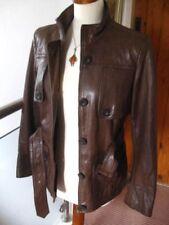 Ladies NEXT brown real leather JACKET COAT size UK 8 10 belted SAFARI biker