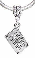 Retro Cassette Tape Music Album Dangle Bead for Silver European Charm Bracelets