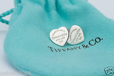 Please Return To Tiffany & Co. Sterling Silver Mini Heart Stud Earrings w/ Pouch