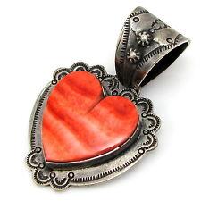 DAN DODSON Southwestern Sterling Silver Red Spiny Oyster Shell Heart Pendant |G