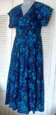 Vtg All That Jazz The 80s Does The 30s/40s Blue Floral Maxi Swing Dress Sz 9/10
