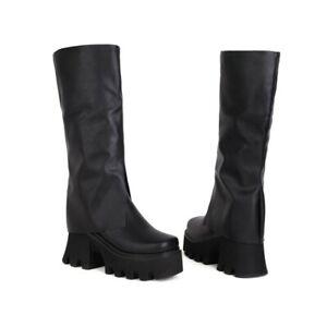 Punk Ladies Non-Slip Thick-Heeled Platform Mid-Heel Calf Boots Square Toe Shoes