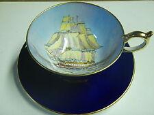Aynsley Tea Cup & Saucer Clipper Ship England Cobalt blue Bone China
