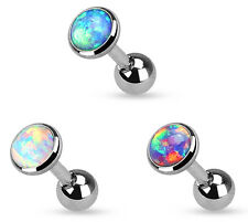 """1pc Opal Set Flat Top Tragus Cartilage Ring Barbell 16g 1/4"""""""