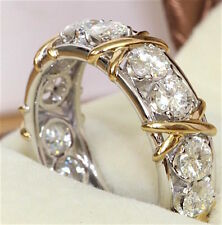 White Sapphire CZ Stone 10KT White & Yellow Gold Filled Cross Band Eternity Ring