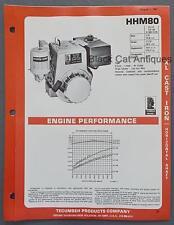 1981 Tecumseh XL Cast Iron Horizontal Shaft Engine Specs Brochure HHM80, 8.0hp