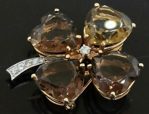 Heavy 14K 2-tone 32.30CT diamond & Heart cut smoky quartz 4-leaf clover brooch
