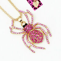 Women's Crystal Rhinestone Spider Pendant Chain Betsey Johnson Necklace Gift