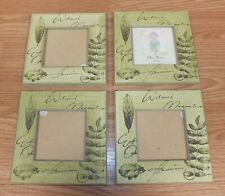 """Set of 4 3 1/2"""" X 3 1/2"""" Wood Style Green Nature Scene Picture Photo Frames"""