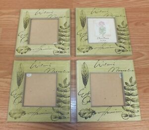 "Set of 4 3 1/2"" X 3 1/2"" Wood Style Green Nature Scene Picture Photo Frames"