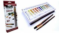 Artists Watercolour Paint Set of 12 + 2 Brushes - By Royal and Langnickel