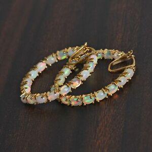 Ethiopian Welo Opal Earrings in Vermeil Yellow Gold Over Sterling Silver