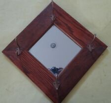 "Antique Honey Oak Framed Mirror (8"" x 8"" Mirror), (16"" x 16"" Frame), with hooks."