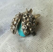 Sterling Silver Ladybug Pendant with Turquoise Glass Gem Under Wings HS