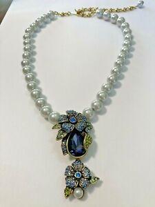 Heidi Daus Blue Crystal Flower Drop Pearl Necklace NEW