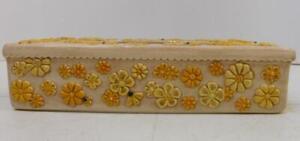 VTG CERAMIC RECTANGULAR KLEENEX TISSUE GLOVE BOX COVER TAN W/ FLOWERS AND BEES