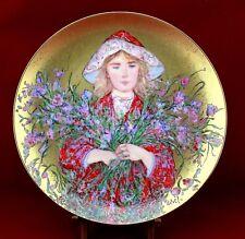 Rare Edna Hibel Flower Girl Iris Collector Plate 1986 Box Coa