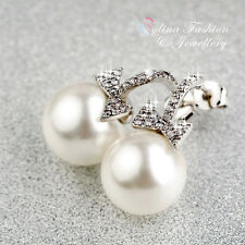 18K White Gold Plated Simulated Pearl & Diamond Exquisite Bow-knot Stud Earrings