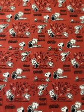 SNOOPY Schroeder MUSIC BOOGIE DOWN Red 100% Cotton Fabric by the Half Yard
