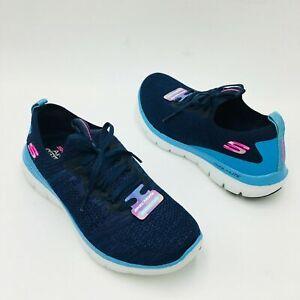 Skechers Flex Appeal 2.0 Stretch Knit Slip-on Sneakers - Turn Navy / Light Blue
