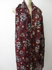 PATRICIA NASH RED PROVENCAL ESCAPE PRINT WITH METALLIC THREADS SCARF - NEW