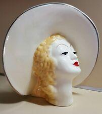 "Vintage 8 1/4"" Unmarked Art Deco Style Lady Head Vase"