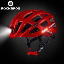 ROCKBROS Road Bike Cycling Ultralight Helmet USB Recharge Light Size 57-62cm Red