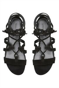 witchery : black marial suede gladiator sandals size: 37.39 new $139.95