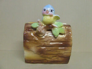 HTF Vintage Norcrest Baby Blue Bird on Log Napkin Holder