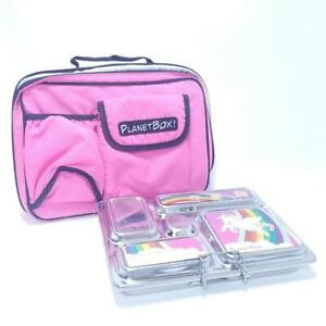 PLANETBOX 5 Compartment Metal Bento Style Lunch Container w Insulated Case Pink