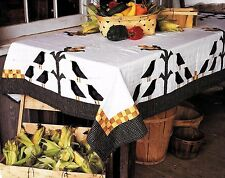 CROWS IN THE CORN TABLECLOTH OR TWIN PATCHWORK & STRIP VINTAGE QUILT PATTERN