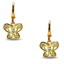 Small Butterfly Dual Colour 9ct Gold Filled White CZ Dangle Hoop Earrings BE889