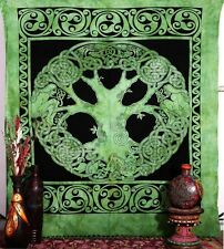 CELTIC TREE OF LIFE TAPESTRY WALL HANGING THROW INDIAN HIPPIE GREEN 5.0' x 7.5'