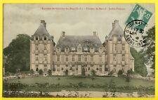 cpa Ecrite en 1908 BREMONTIER MERVAL (Seine Maritime) Le CHÂTEAU Jardin Français