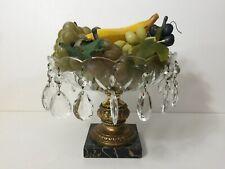 Vintage Crystal Metal Marble Pedestal Stand Fruits Bowl w/Teardrop Crystal Beads