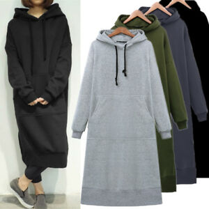 UK STOCK Women Winter Fleece Lining Long Sleeve Pullover Hoodie Sweatshirt Dress