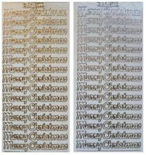 MERRY CHRISTMAS Peel Off Stickers Clear Sticker Gold or Silver Outline