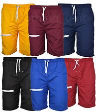Mens Swim Elasticated Shorts Beach Summer Mesh Lined Zip Pockets