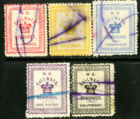 New Zealand Stamps # Railway Stamps 5 Differ3Ent Railway Stamps Rare