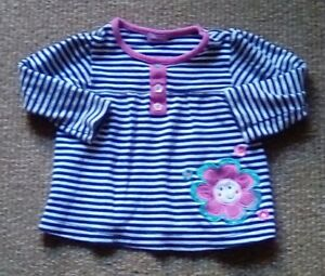 BHS Cheeky Monkey Striped Long Sleeve Top - Size 9-12 Months