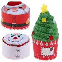 Christmas Cupcake Cotton Towels Santa Claus Snowman Tree Dishcloth Xmas Gifts