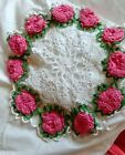 APP+14%22+HAND+MADE+CROCHETED+WHITE+SPIDER+WEB+%40+BRIGHT+PINK+3D+ROSES+DOILY+