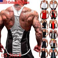 Gym Mens Muscle Sleeveless Tank Top Tee Shirt Bodybuilding Sport Fitness Vest US