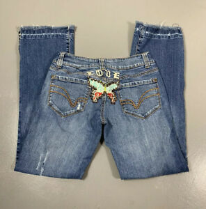 Younique 9 Whiskered Distressed Embroidered Butterfly Fringe Bottom Denim Jeans